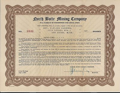 North Butte Mining Company Full and Fractional Stock Warrants Montana 1930