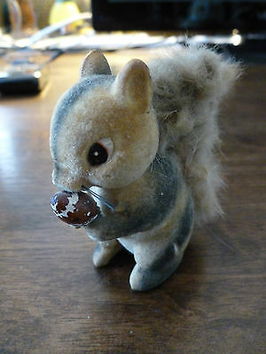 Vintage Fuzzy, Furry. Flocked Squirrel - with Nut - Made in Japan