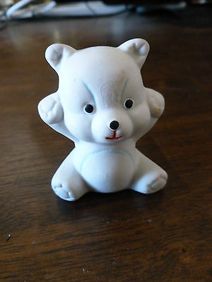 Vintage Bisque Bear Toothpick Holder - Made in Taiwan - Teddy Bear