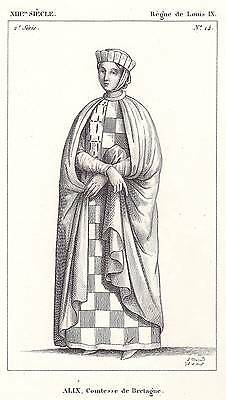 Antique Engraving -13th Cent: Alix, Comtesse Bretagne - by LEOPOLD MASSARD 1834