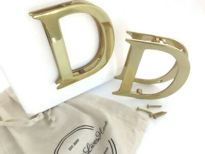 DOOR KNOCKER Solid 3D Brass Polished Letter D with brass screws giftwrapped