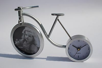 Aluminium Desk Table Clock Bicycle Picture Frame Birthday Gift Idea for Her