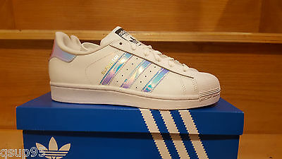 70617f1b096e Adidas Superstar Junior Classic White Hologram Iridescent Kids GS AQ6278  3Y-7Y