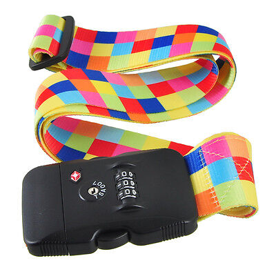2m 3-Dial TSA Combination Lock Luggage Suitcase Secure Strap Belt Color Chequers