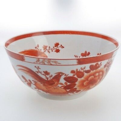 Vintage Chinese Porcelain Hand-Painted Punch Bowl With Birds