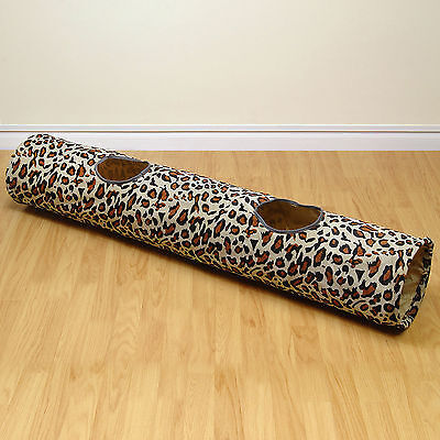 Leopard Print Pop Up Cat/Kitten Pet Play Tunnel Activity Centre Fun/Crinkle Toy