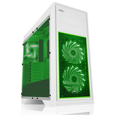 Game Max Titan Mid Tower PC Gaming Case Window 2 X Fans USB3 WHITE / GREEN LED