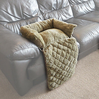 Small Quilted Green Fleece Fold Out Pet Bed Cat/Dog Sofa/Couch/Chair Protector
