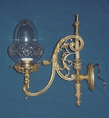 Antique Bronze Wall Sconce Crystal Cut Glass Globe Tulip Shade Wired France
