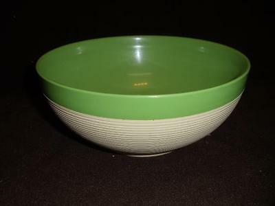 """Vintage Raffiaware by Thermo Temp Green Top 9 1/2"""" Lg Serving Bowl Mid Century"""