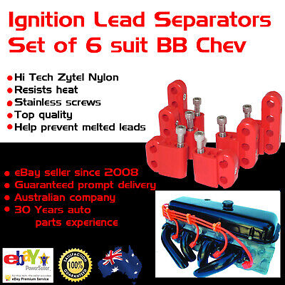 Big Block Chev Red Ignition Lead Separators Brackets Mounts Stainless Screws