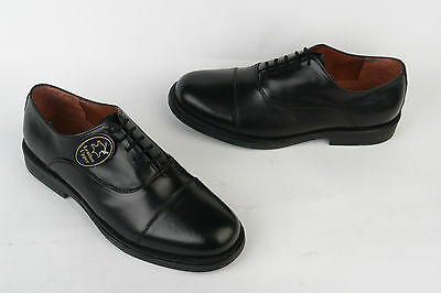 Mens New Black Leather Oxford Capped Military Parade Style Shoes 3 - 14
