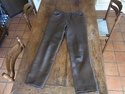 PANTALON droit CUIR FEMME VINTAGE T38 / LEATHER TROUSERS VINTAGE size 10UK 8US