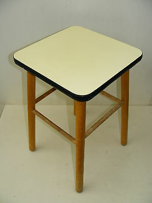 Old Wood Stool, Vintage Retro Design Iconic Chair, Wooden Stool Kitchen - Yellow