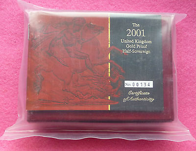 2001  Gold Proof Half Sovereign  Coin Box And Coa - Sealed