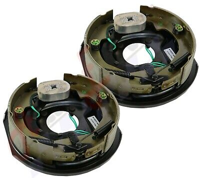 Pair Electric Trailer Brake Assemblies 12in x 2in Standard 5 Hole Pattern