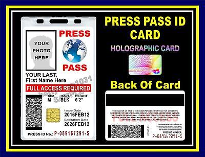 PRESS PASS ID Badge / Card >CUSTOMIZABLE<  US MILITARY CAC STYLE Photographer ID