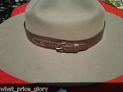 Leather RCMP Style Hatband for Stetson Hat - Size 24 1/2
