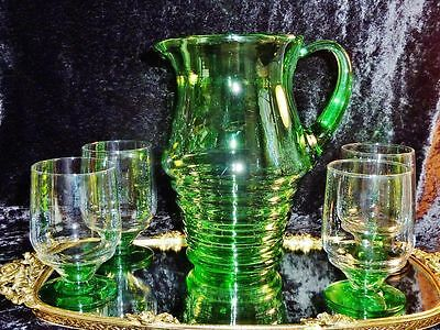 Gorgeous Retro Hand Crafted Large Pitcher & 4 Glasses