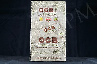 FULL BOX (24 packs) AUTHENTIC OCB ORGANIC HEMP 1 1/4 PAPERS NATURAL UNBLEACHED