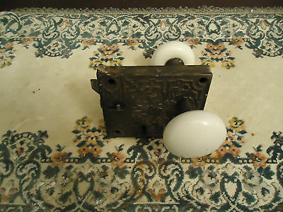 Antique Door Hardware- Surface Mount Brass Porcelain knobs and Loc