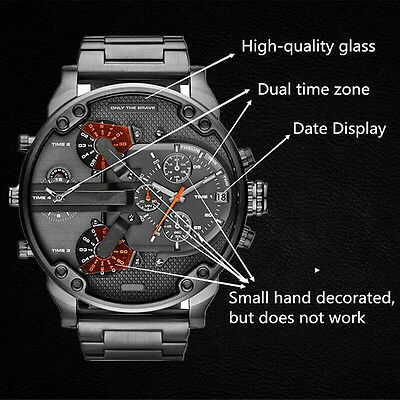 BLACK Stainless Steel Wristwatch Date Military Army Sport Quartz Watches For Men
