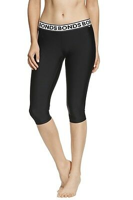 Bonds Ladies Black Active Cropped Microfibre Capri Leggings Size S New CXLVI