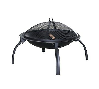 Pagoda Foldable Fire Pit BBQ with Mesh Lid Bg/Prg 56 x 56 x 39cm