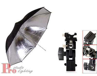 "33"" 84cm Silver / Black Reflector Umbrella + Flash Shoe Holder Swivel Mount Kit"