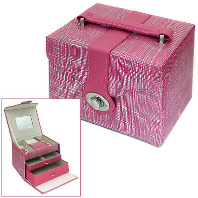 Pink & Silver Embossed Faux Leather Jewellery Box Jewelry Trinket Storage Case