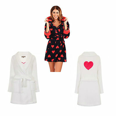 Womens Girls Nightwear Short Hooded Heart Fleece Robe Loungewear Dressing Gown