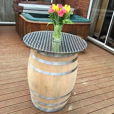 Large Solid Oak Recycled Wine with Barrel Metal Top Bar | Patio Table