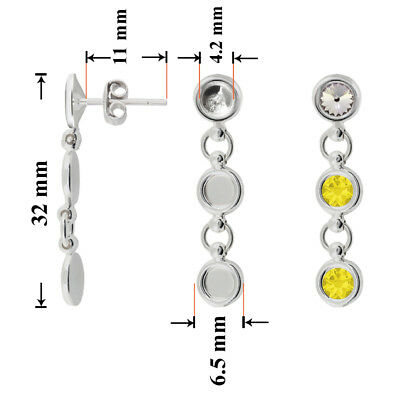 Sterling Silver Dangle Stud Posts 32x11mm for Gluing 1122 & 2088 Crystals
