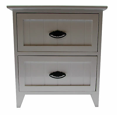Modern White Gloss Wooden Small 2 Drawer Bedside Table /Cabinet Storage Unit