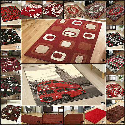 Small Medium Large - Thick Red Quality Shaggy Budget Carved Discount Priced Rugs