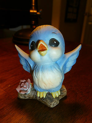 Vintage Bluebird Figurine - Blue Bird Figurine - Wings Spread on Branch