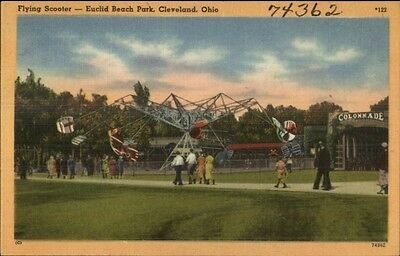 Cleveland OH Flying Scooter Ride Euclid Beach Park Postcard bck
