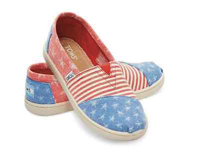 TOMS Stars and Stripes US Red White Blue Slip-On NEW Boxed Little Big Kid Womens