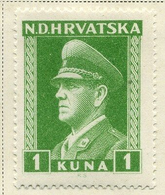 CROATIA;  1943 early WWII Pavelic issue fine Mint hinged 1k. value