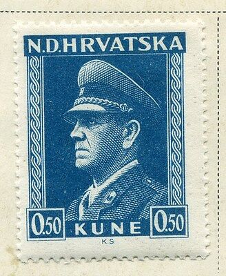 CROATIA;  1943 early WWII Pavelic issue fine Mint hinged 50b. value