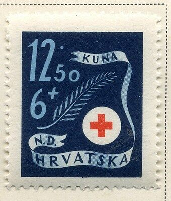 CROATIA;  1944 early Red Cross issue fine Mint hinged 12.50k. value