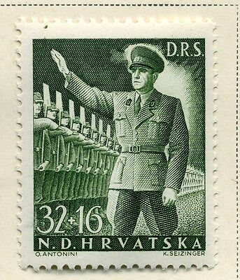 CROATIA;  1944 early Labour Front issue Mint hinged 32k. value