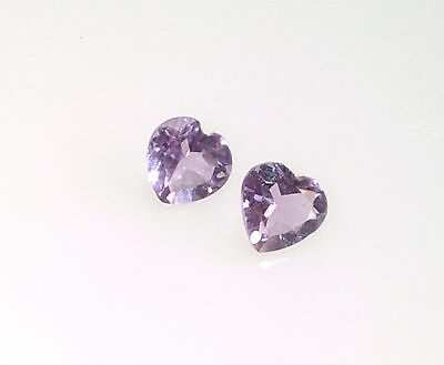 6mm Heart Shape Natural Light Amethyst x2 Loose Gemstone February Birthstone NEW