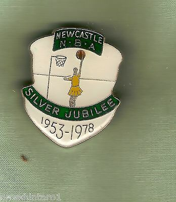 #d38.  Newcastle  Netball  Association  Lapel  Badge, Silver  Jubilee