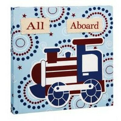Blossom & Buds Boys Transport Train Wall Canvas - Blue Red All Aboard Baby Decor