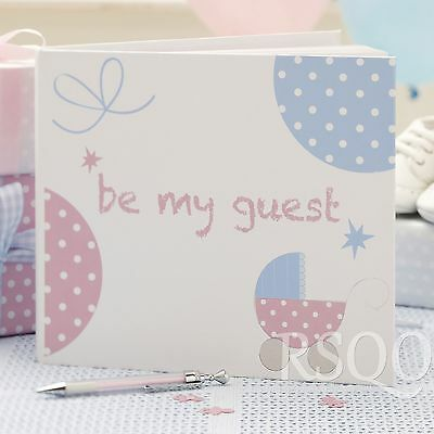 Tiny Feet Unisex Pink and Blue Guest and Message Book Baby Shower Party