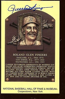 Yellow Hall of Fame Plaque Autographed Rollie Fingers Hologram