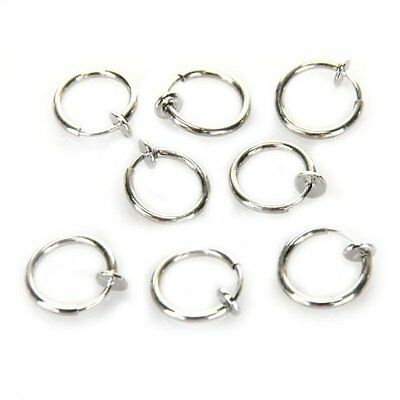8 Clip On Fake Piercing Nose Lip Hoop Rings Earrings FK