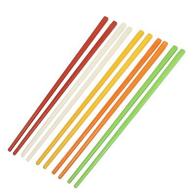 "5 Pairs Assorted Color Plastic Chinese Chopsticks 8.7"" Long PK"