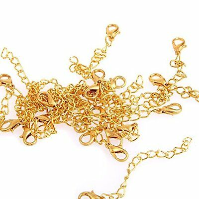 20 Gold Tone Necklace Chain Extenders  Findings + Lobster Clasp FASHION 11mm FK